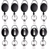 Retractable Badge Reel with Carabiner Belt Clip and Key Ring for ID Card Key Keychain Badge Holder Black 10 Pack by NATUREBELLE