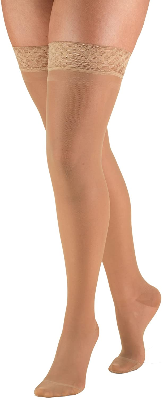 Truform Sheer Compression Stockings, 15-20 mmHg, Women's Thigh High Length, 20 Denier, Beige, X-Large