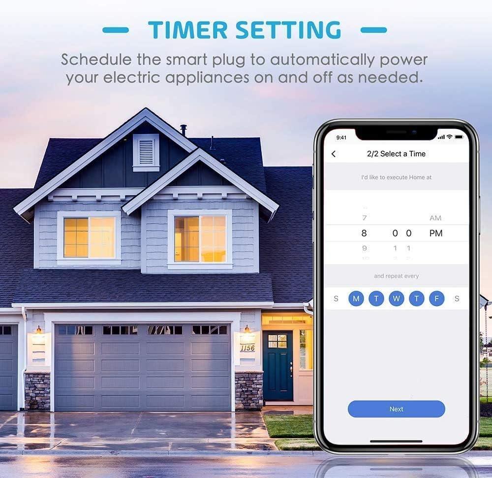 Google Assistant y SmartThings. Compatible con Alexa Mide el Consumo 16A 3680W Wi-Fi Smart Plug Enchufe Inteligente con Control Remoto Meross App