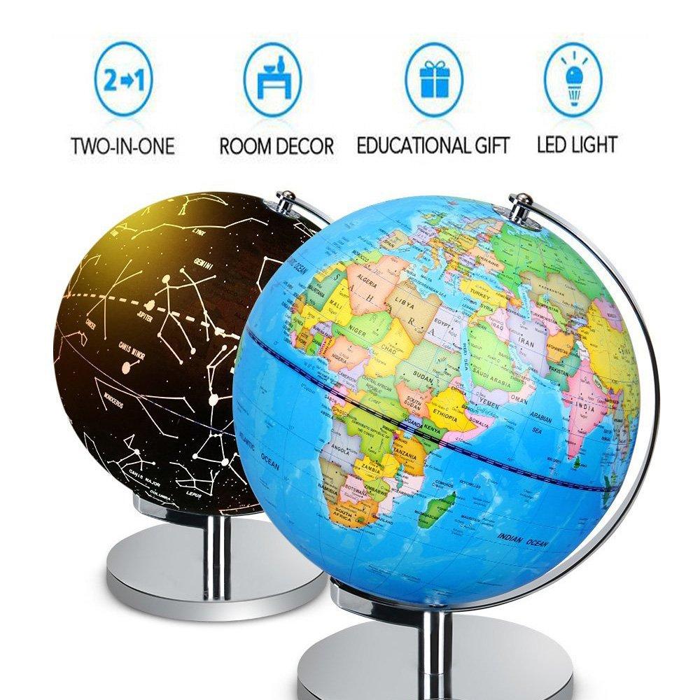 SudaTek 9 Inch Globe - 2 in 1 World Globe & Illuminated Constellation Map Educational Geographic Learning Toy