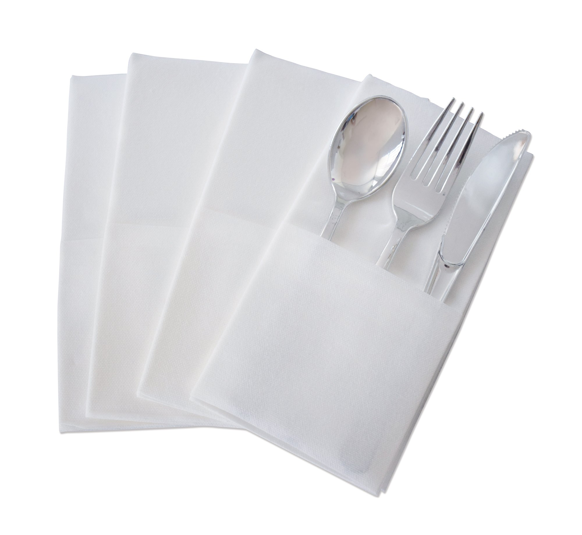 '' OCCASIONS'' Wedding Party Linen Feel White Dinner Paper Napkins (240, Prefolded for Silverware) by OCCASIONS FINEST PLASTIC TABLEWARE (Image #1)
