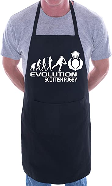 Evolution Of Scottish Rugby BBQ Cooking Funny Novelty Apron