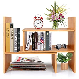 Adjustable Natural Wood Desktop Bookshelf Bamboo Desk Storage Organizer Display Shelf Rack, Counter Top Bookcase