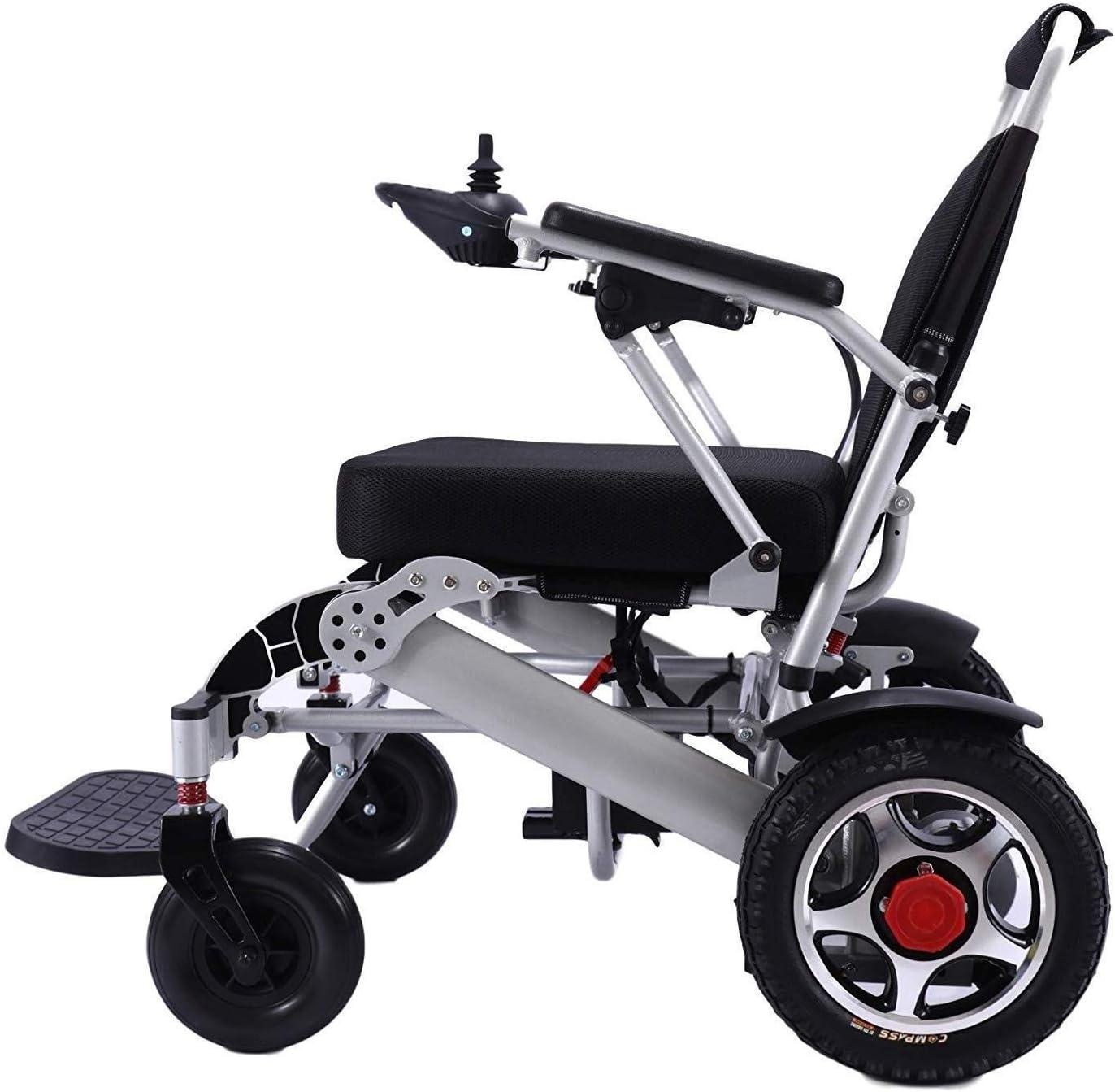 Silla de ruedas eléctrica, ligero plegable transportar la energía de ruedas, portátil motorizado de alimentación ayuda a la movilidad Vespa, Registrado en la FDA (plata Anchura del asiento 19