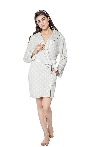 FRALOSHA Women\'s Dressing Home Fashion Bathrobe and Plush Slippers A ...