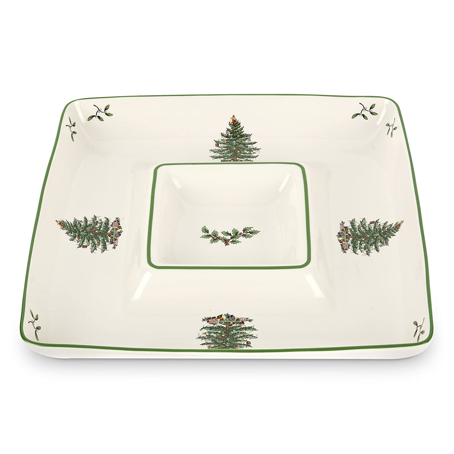 Spode Christmas Tree Square Chip and Dip