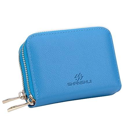 Cartera Tarjetero RFID de Piel Genuino,SHANSHUI Monedero con Doble Cremalleras,12 Raruras para Tarjetas Regalo para Mujer Hombre 5 Colores(Azul)