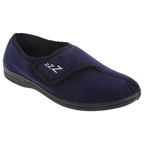 Amazon.com | Zedzzz Mens Connor Touch Fastening Velour Slippers | Slippers