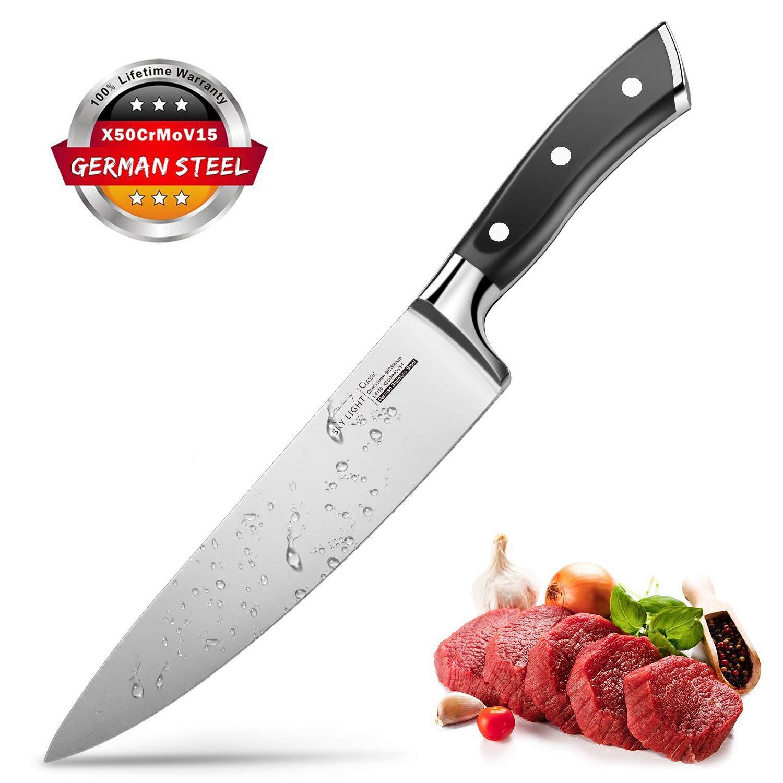 Cuchillos de Cocina Cuchillo Profesional de Cocinero 20cm, SKYLIGHT Cuchillos Chef Acero Inoxidable de Alemania con Mango Ergonómico