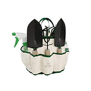 Pure Garden 8 Piece Garden Tote and Tool Set- Gardening Hand Tools and Supply Essentials Kit Includes Storage Bag, Rake, Shovel, Trowel, More
