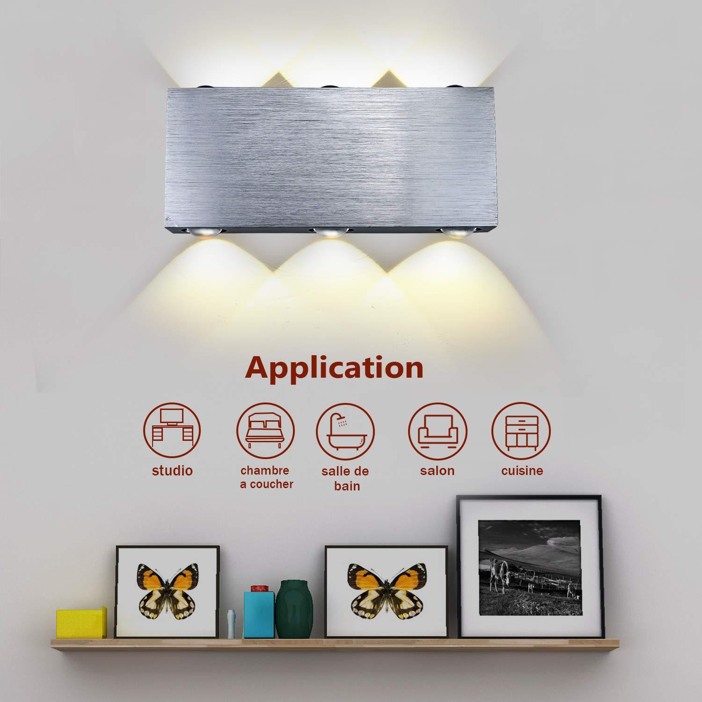 Buluri 8W Moderne LED Wandleuchte Scheinwerfer Aluminium Fixture Dekorative Lichter Lampe für Theater Studio Shop Startseite Shop Halle Veranda Schlafzimmer Badezimmer, warmweiß (8W) warmweiß (8W)