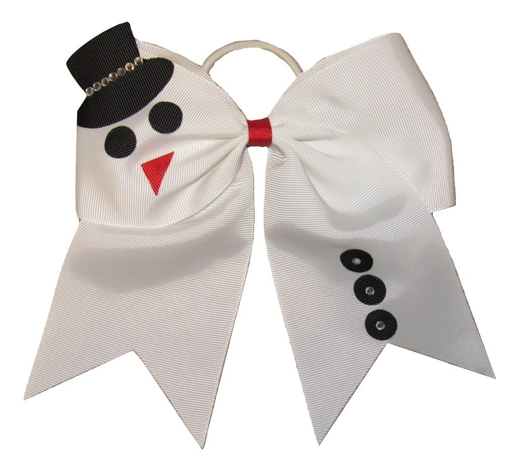 new snowman bling cheer bow pony tail 3 inch ribbon girls christmas cheerleading dance