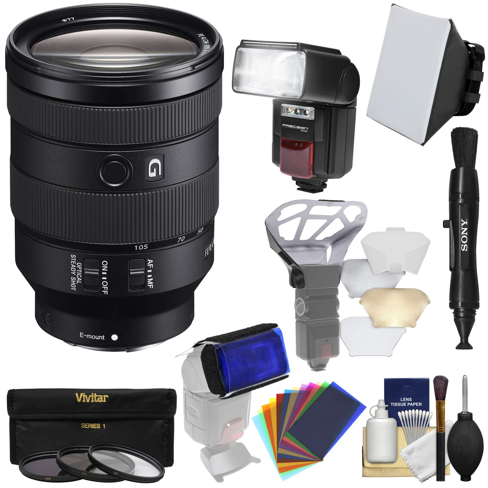 Sony Alpha E-Mount FE 24-105mm f/4.0 G OSS Zoom Lens with 3 UV/CPL/ND8 Filters + Flash & LED Video Light + Diffusers + Kit by Sony (Image #1)