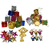 Collectible India 50 Pcs Christmas Mini Ornaments Decoration Set - Christmas Tree Decoration Items (Bells, Stars, Santa Claus, Gifts & Drums)