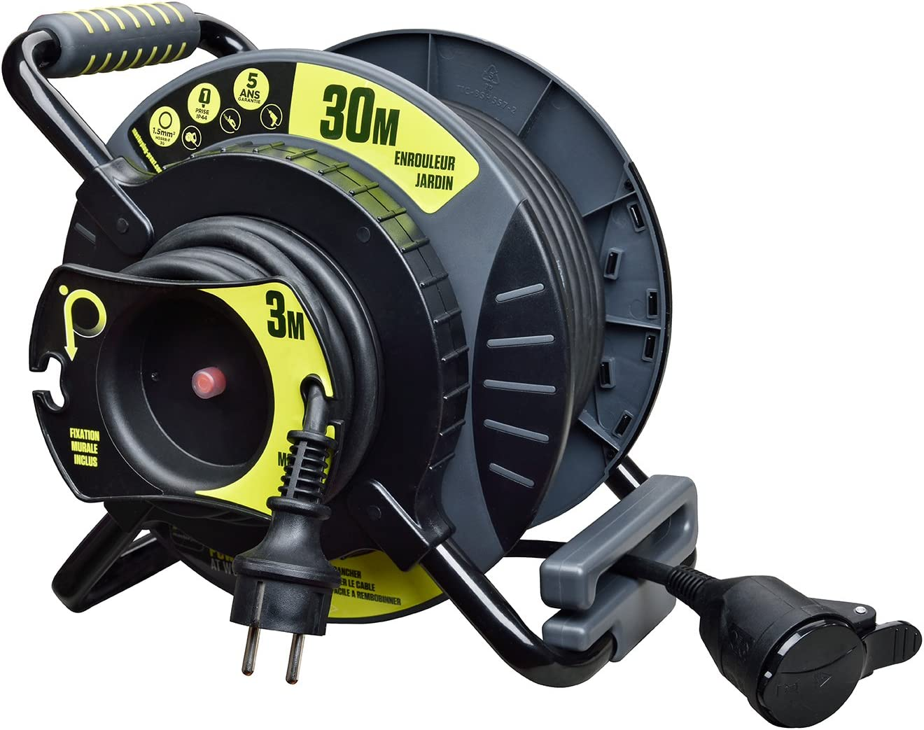 Carrete eléctrico de jardín 30 + 3 metros, antitorsión, NF – cable H05RR-F 3G1.5: Amazon.es: Bricolaje y herramientas