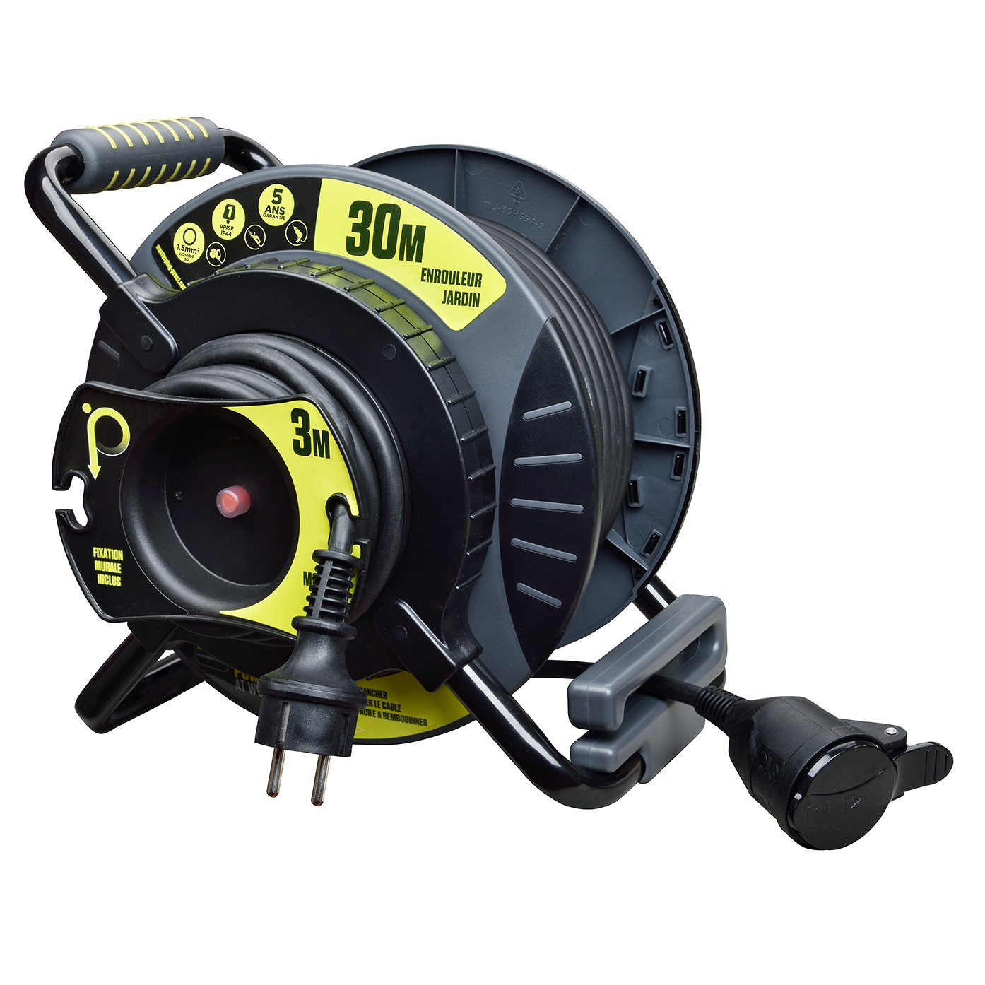 Masterplug oatrf3016rrfl3ip-px avvolgicavo elettrico di giardino, 3000W, 230V, Nero/Giallo 3000W 230V Luceco