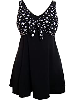 062831a4ef2ee Black and White Starry Nights Swimdress with Tummy Control/Secret Support