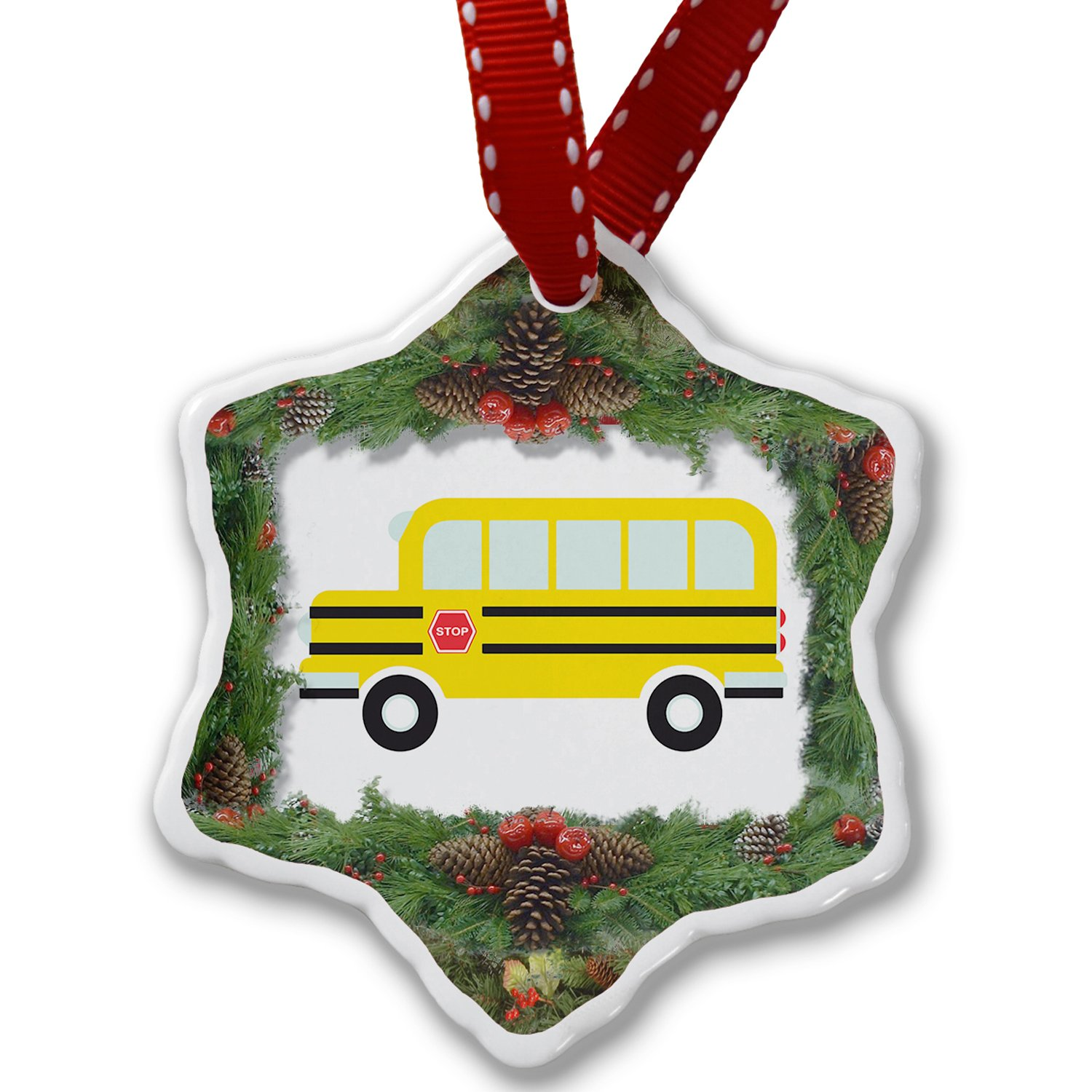 Christmas Ornament Kids Design School Bus - Neonblond
