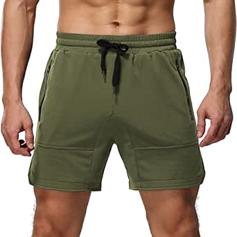 Aimeilgot Mens Shorts Casual Elastic Waist Athletic Gym Summer Beach Shorts with Pockets