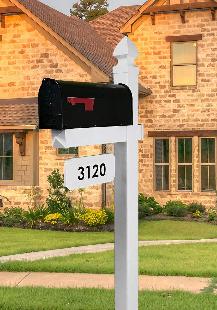 The Loudon Mailbox with Post Included - Customized Address Plate Available - Black Metal Mailbox with White Vinyl Post Combo Complete System by 4Ever Products