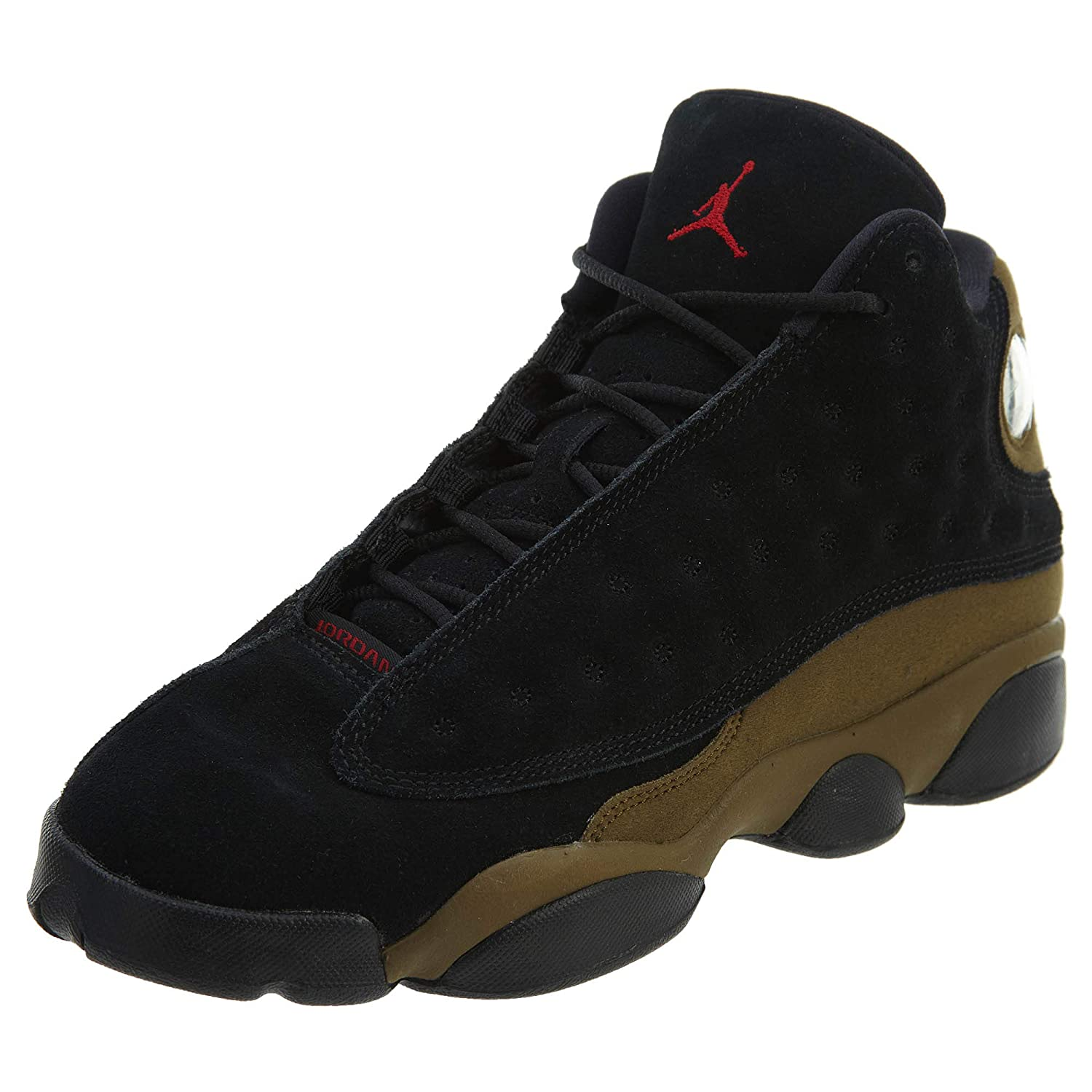 Jordan Air 13 Retro BG Big Kids Sneakers Black/Gym Red/Light Olive 884129-006