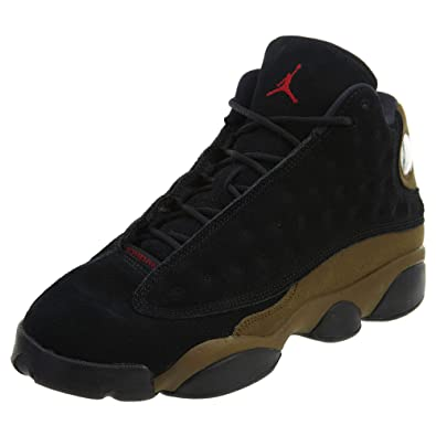 ec72a0f2d535 Jordan Air 13 Retro BG Big Kids Sneakers Black Gym Red Light Olive 884129
