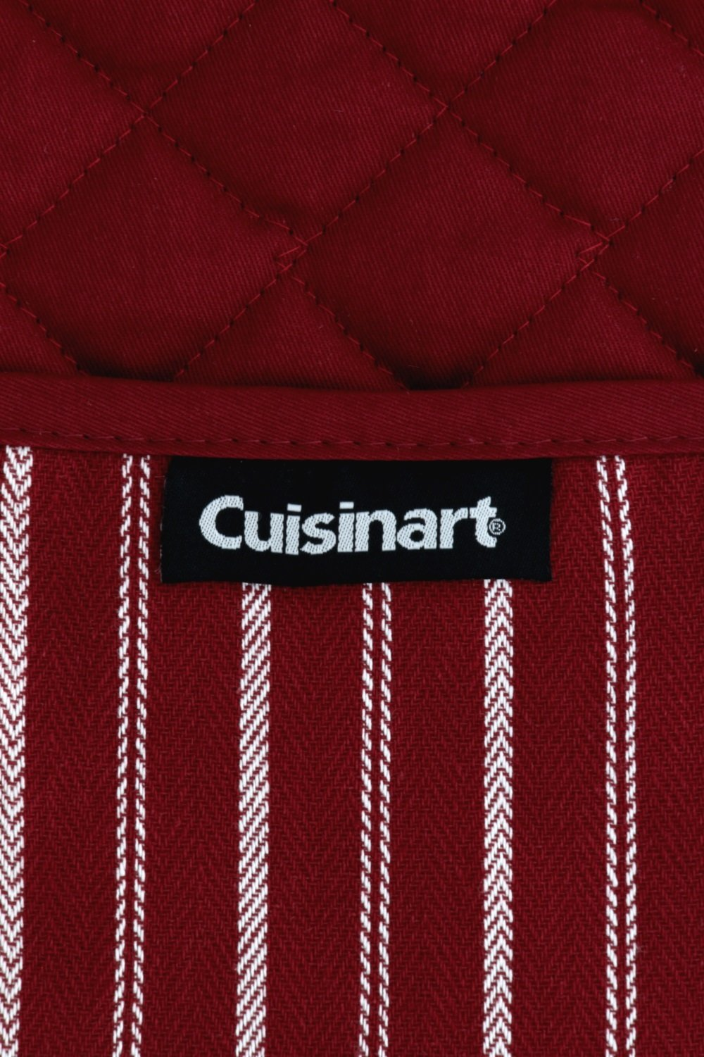 """Cuisinart Double Oven Mitt Glove/Moppine, Quilted Heat Resistant Kitchen Accessory, Twill Stripe, 35"""" x 7.5"""", Great for Cooking, Baking, and Handling Hot Pots & Pans- Red Dahlia by Cuisinart (Image #5)"""