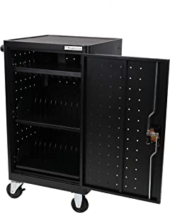 Pearington 24 Bay Fully Assembled Rolling, Charging Cart Station for Classroom and Office- for use with Chromebooks, iPad, Tablets and Laptop Computers; Secure Locking Cabinet Storage-Store up to 15""