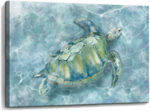 Bathroom Wall Decor Sea Turtle HD Pictures Print on Canvas Framed Wall Art for Bedroom Kitchen Modern Blue Coastal Room Decorations Art Work Green Turtle on Blue Water Size 12x16 inches Ready to Hang