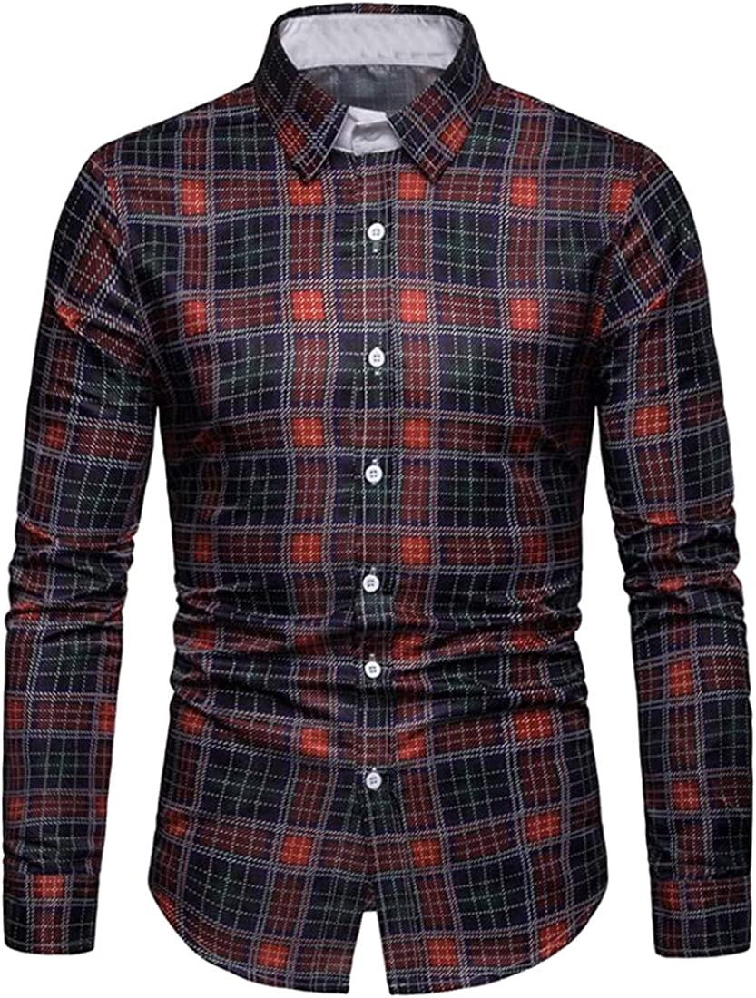 YYear Men Contrast Color Business Long Sleeve Checkered Slim Button Down Dress Shirts