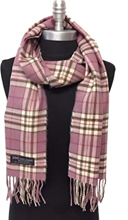 Men/'s 100/% CASHMERE SCARF SCOTLAND PLAID Brown Black SOFT Wool Wrap Warm