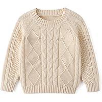 Curipeer - Suéter de punto de cable para bebé y niña, manga larga, cuello redondo