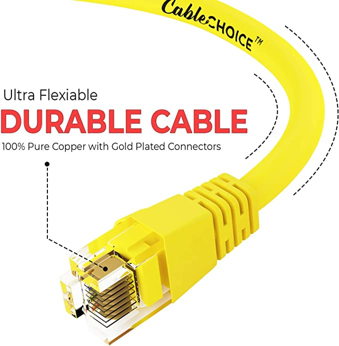 24AWG Network Cable with Gold Plated RJ45 Non-Booted Connector 1Gigabit//Sec High Speed LAN Internet//Patch Cable Purple 20-Pack - 0.5 Feet CABLECHOICE Cat5e Ethernet Cable 350MHz