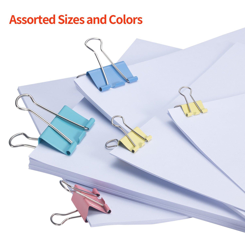 A8215 Bonsaii Binder Clip with Assorted Colors 48 pcs Per Tub Assorted Sizes