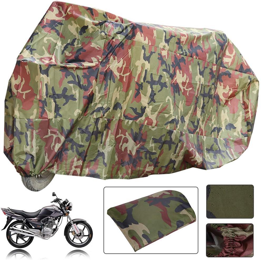 KingSaid Camouflage Motorrad Abdeckplane Motorradabdeckung Wetterschutz UV-Schutz f/ür Outdoor Garten