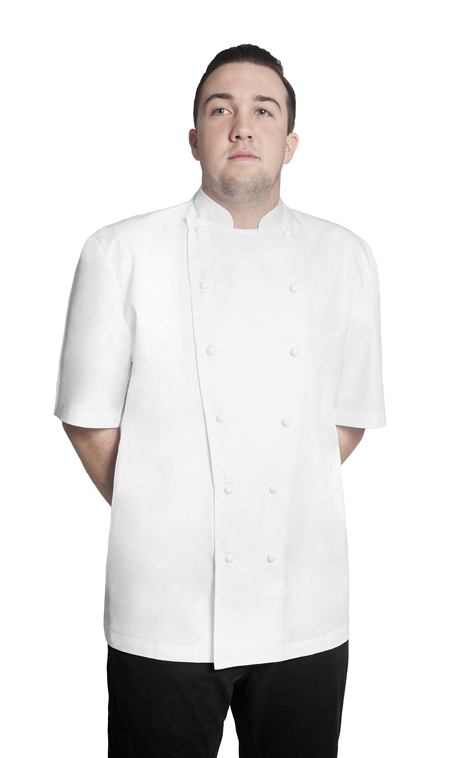 Bragard Grand Chef Jacket Short Sleeve with Chest Pocket Pima Cotton - White | Sizes 44 |