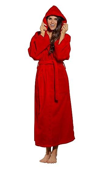 100% Turkish Cotton Hooded Terry Velour Bathrobe Made in Turkey (One Size bf62e5038