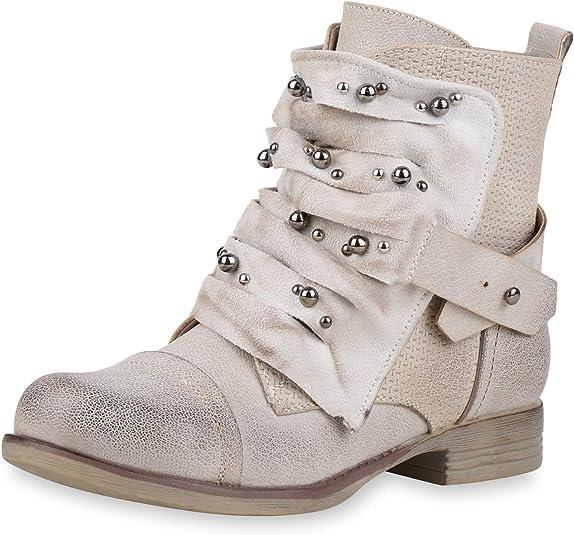 Damen Ankle Boots Nieten Stiefeletten Leder-Optik Schuhe Booties 821364 Top