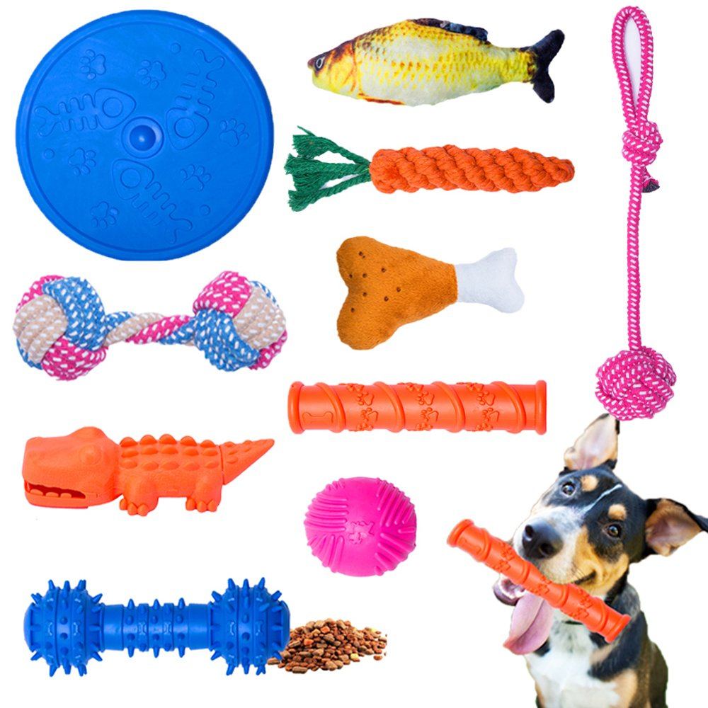WB WEIRDBEAST Dog Toy Set Dog Rope Toys Rubber Balls Ropes Chew Squeaky Cotton Plush Pet Dog Teething Training Play Toys Flying Discs for Small Medium Dogs