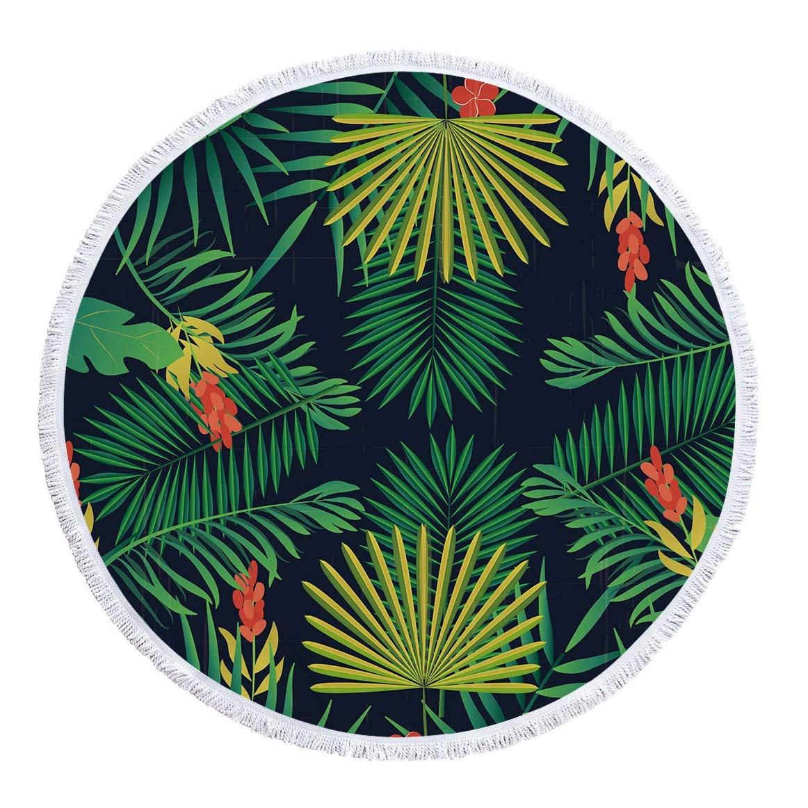 100/% pa/ño de Felpa de Microfibra con borlas Toalla de Playa Multiuso para tapicer/ía Ba/ño Traje de ba/ño Estera Color : 10 RIC-CLO Toalla de Playa Redonda de 59 Pulgadas con Secado r/ápido