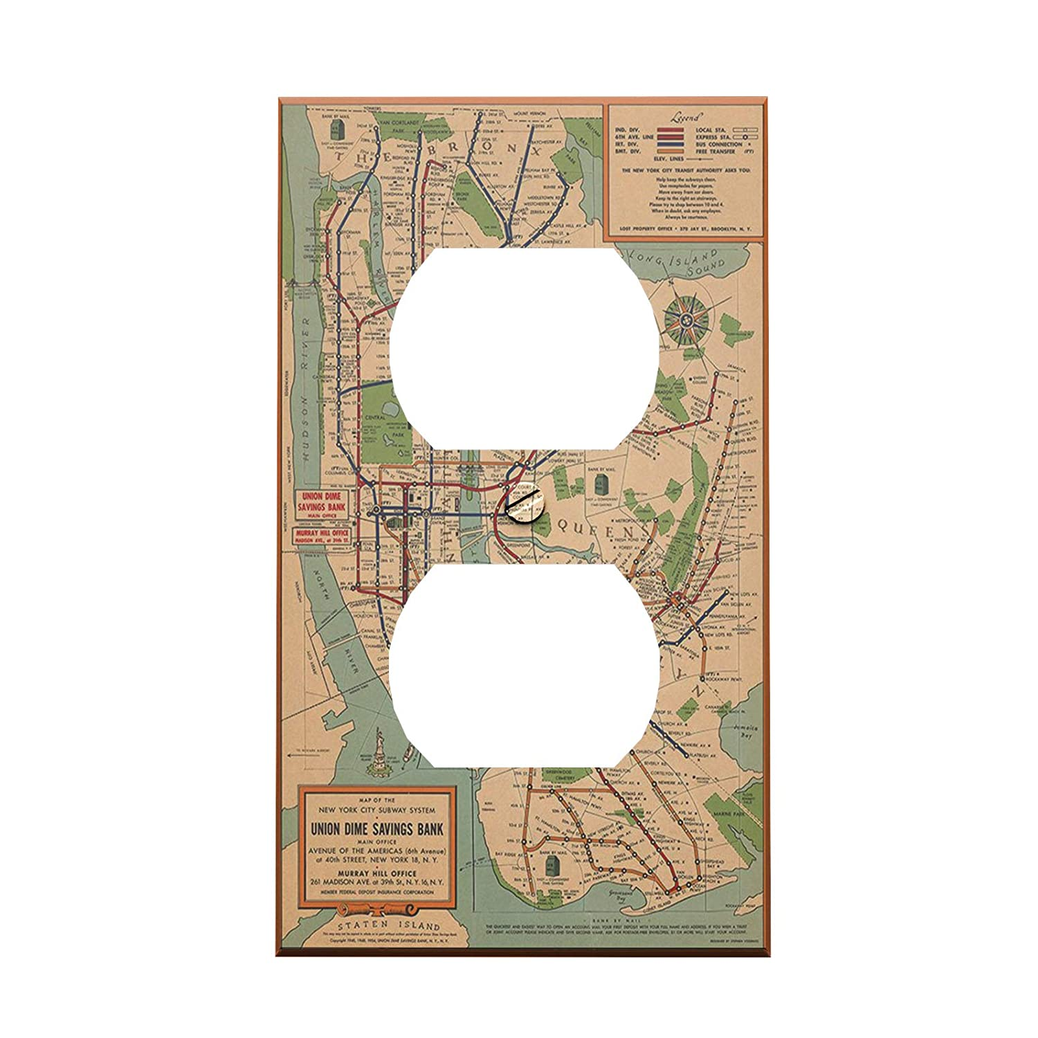 Madison Subway Map.Vintage Nyc Subway Map Outlet Cover Amazon Com