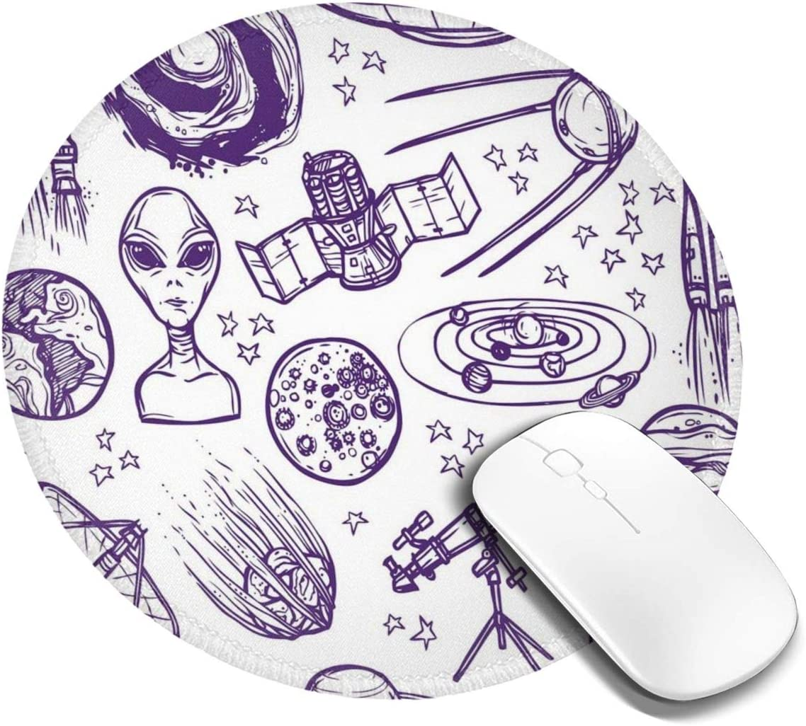 BBLUEEI Round Mouse Pad,Minimalist Space Graphic Satellite ...