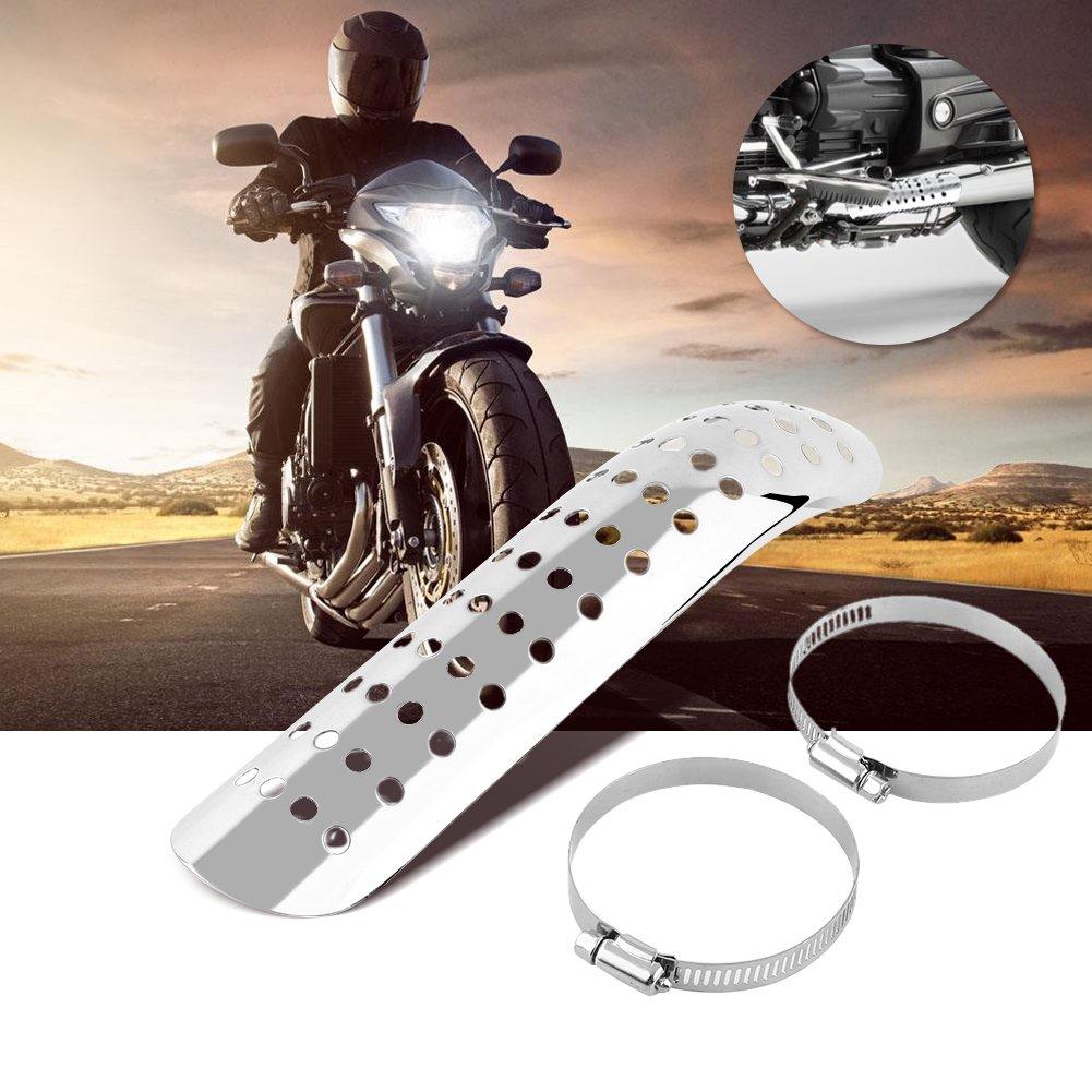 Bouclier de chaleur Protection de la chaleur Bouclier de chaleur Pour /échappement de moto Silencieux d/échappement pour moto URVE avec trous ronds - Argent