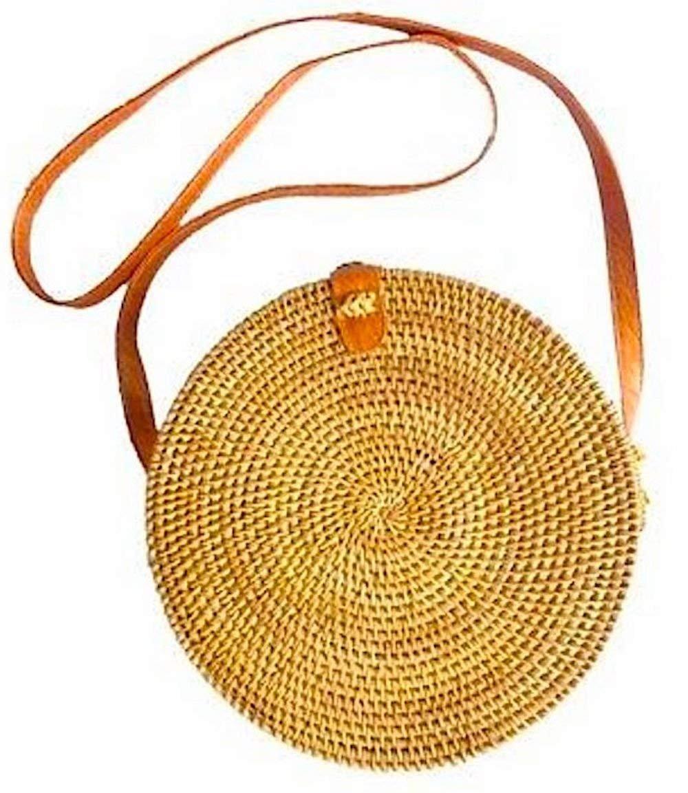 Round Rattan Bag Cross Body Handbag Small Handmade in Bali Ata Batik Lining Leather Strap 15cm Laariss