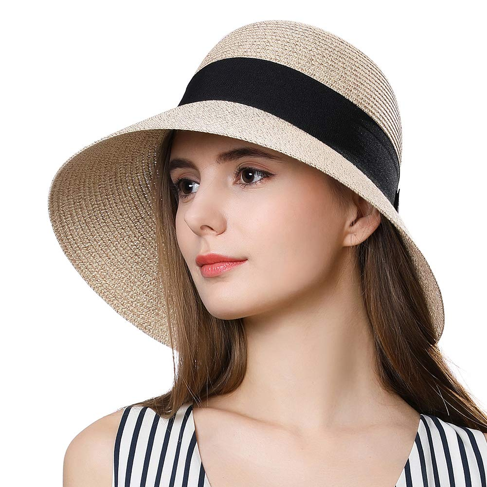 Packable Straw Fedora Sun Panama Beach Cloche Hat for Large Head Women Floppy Beige 58-59cm