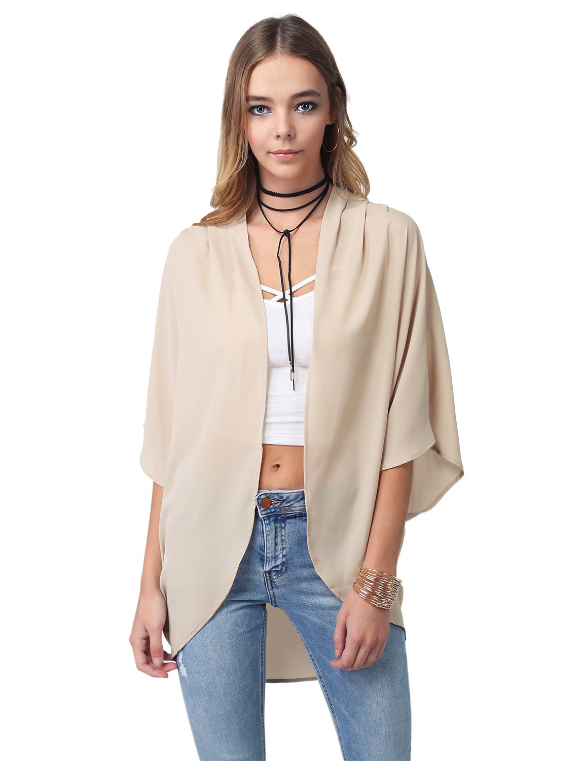 Made by Emma Solid Short Sleeve Open-Front Kimono Style Cardigan Taupe 2XL