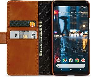 StilGut Talis Case, Custodia per Google Pixel 2 XL in Pelle Cover a Portafoglio. Chiusura a Libro Flip-Case in Vera Pelle Fatta a Mano, pratiche Tasche per Carte di Credito, Cognac