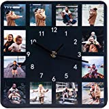 Wall Clock for Living Room Decor Custom Name & Photo Personalized Wooden Wall Clock 10 inch Clocks for Family Home Wall Decor