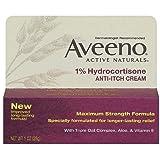 Aveeno 1% Hydrocortisone Anti-Itch Cream, Maximum Strength, 1-Ounce Tubes (Pack of 4)