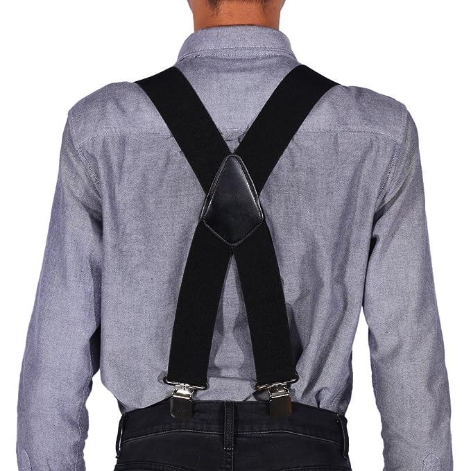 2283fa98b Tirantes anchos elásticos para hombre de los 50MM de las tirantes X forma  los apoyos elásticos ajustables del pantalón con los clips del metal   Amazon.es  ...